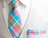 Necktie, Neckties, Mens Necktie, Neck Tie, Groomsmen Necktie, Ties, Neck Ties, Wedding Neckties, Plaid Necktie - Aqua, Pink, Yellow Plaid