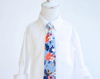Necktie, Neckties, Boys Tie, Baby Tie, Baby Necktie, Wedding Ties, Ring Bearer, Ties, Rifle Paper Co - Birch Floral In Periwinkle
