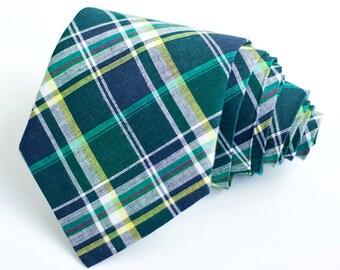 Necktie, Neckties, Mens Necktie, Neck Tie, Plaid Neckties, Groomsmen Necktie, Ties, Wedding Neckties, Plaid -  Navy, Forest, Yellow Plaid