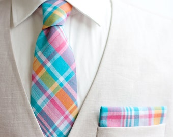 Necktie, Neckties, Mens Necktie, Neck Tie, Groomsmen Necktie, Ties, Neck Ties, Wedding Neckties, Plaid Necktie - Aqua, Pink, Yellow Plaid