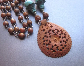 Wood Carved Pendant Assemblage Necklace Wood Rosary Beads Turquoise Stones