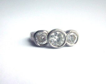 Sterling Silver Ring with Crystals
