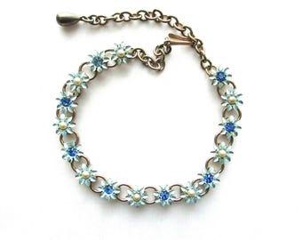 Blue Flower Choker Necklace Rhinestone Cold Paint Enamel Garden Gold Tone Vintage Pearl Blue Daisies