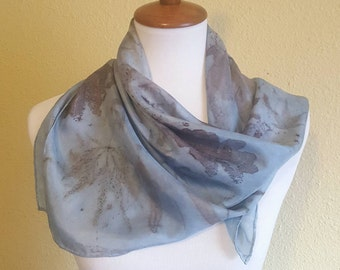 30 inch Square Silk Scarf, Naturally Dyed with Real Leaves and Indigo