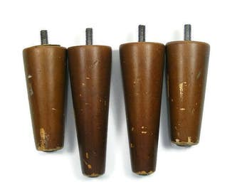 "Tapered Wooden Furniture Legs Set of Four Wooden Legs 5"" long and 4"" long"