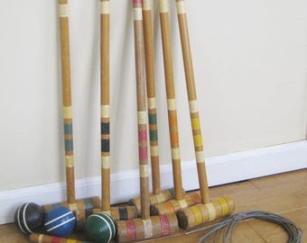 Vintage Croquet Set of Six Colored Wood Mallets, Four Balls,Two Stakes and Wire Wickets, Mid Century Summer Sport
