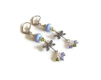 Dragonfly Earrings Dragonfly and Lampwork Earrings Periwinkle Lampwork Beads Crystals Purple and Olivine