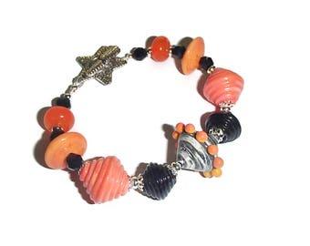 Orange and Black Lampwork Bracelet Orange Retro Lampwork Artisan Beaded Bracelet