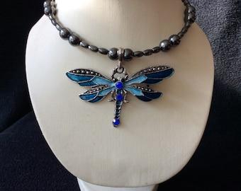 Blue rhinestone dragonfly handbeaded magnetic hematite choker necklace