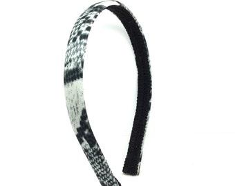 Gray and Black Snakeskin Headband - Snake Print Headband - Animal Print Headband - Big Girl Headband, Adult Headband - Half inch headband