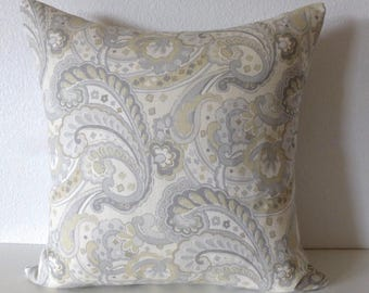 Pillow Cover - Designer Fabric - Kravet - Whamsley - In Sterling - Paisley - Soft Grey - Decorative - Cushion Cover