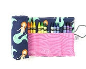 Crayon Roll - Mermaid - crayon holder, toddler gift, girls gift, preschool coloring, kids journaling