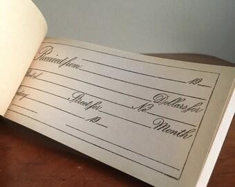 Vintage Receipt Book. Advanco Duplicate Rent Receipts.