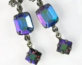 Blue Vintage Earrings Iridescent Sapphire Blue Glass with Crystal Rhinestone Earwire