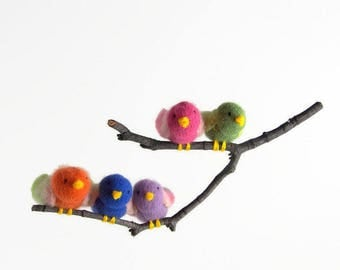 tiny songbirds, mini bird mobile,waldorf toy, waldorf decor, nursery decor, baby mobile,