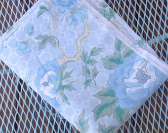 Vintage blue and green floral twin flat sheet.