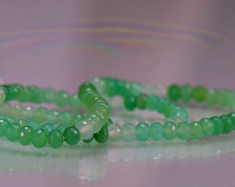 Chrysoprase Faceted Rondelles AAA Chrysoprase Gemstone Beads