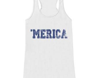 Merica Tank Top - Blue 'Merica Fourth of July Tank - Women's 4th of July Tank Top - White Tank - Fourth of July Shirt - American Pride Top