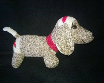 Small DACHSHUND WEINER Sock DOG ~ Embroidered eyes or animal eyes