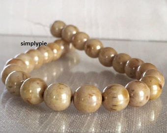 Opaque Luster Tan Lumi Picasso Czech Beads, 8mm 20 Glass Round Druk