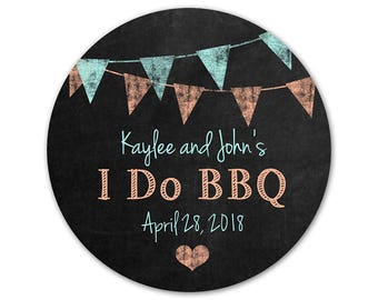 Personalized BBQ Stickers - Bridal Shower Labels - I Do BBQ Stickers - Custom Bridal Shower Labels - Couples Shower Sticker - Chalkboard