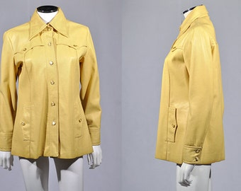 Vtg 1990's WESTERN Yellow Soft PVC Vinyl Jacket M L