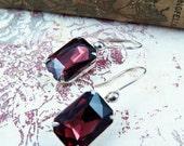 SALE 50% off Amethyst Earrings Rhinestone Earrings Purple Earrings Estate Style Jewelry February Birthstone Sterling Silver