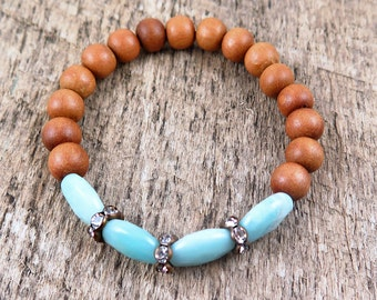 Amazonite Bracelet, Sandalwood Bracelet, Beaded Bracelet, Gemstone Bracelet, Stacking Bracelet, Boho Bracelet