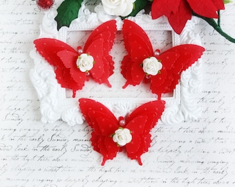 Christmas Vellum Butterfly Embellishments for Scrapbooking, Cardmaking, Altered Art, Tag Art, Mini Album, Pink