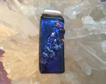 Dichroic glass pendant in Blue