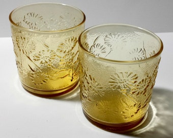 Set of 2 Anchor Hocking Honey Gold Glasses / Vintage Anchor Hocking Yellow Glasses with Dandelions