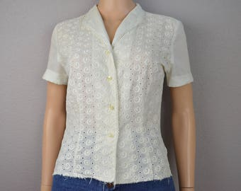 50s Eyelet Blouse White Short Sleeve Blouse XS/SM Button Down Collared Shirt Rockabilly 50s Clothing Epsteam