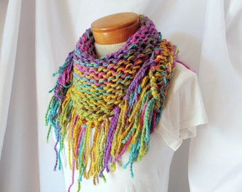 Pink Purple and Yellow extra chunky scarf Cowl neckwarmer acrylic Winter wrap Boho accessory Fringe triangle Warm knit Christmas gift teen