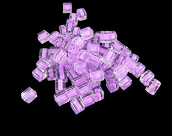 4mm Miyuki # SB222,  clear color lined violet square beads, 20 grams, approx. 208 beads. Easter, spring, prom, purple, pink, tropical, beach