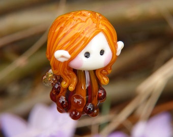 Little Red Haired Garden Fairy glass bead