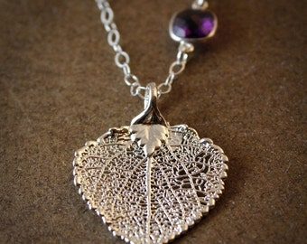CHRISTMAS SALE Silver Dipped Aspen Leaf Necklace - Purple Amethyst - Layering Necklace