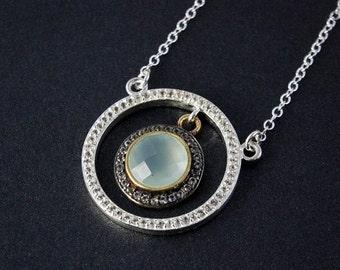 CHRISTMAS SALE Silver Aqua Chalcedony Necklace - Blue Chalcedony - Pave Diamonds