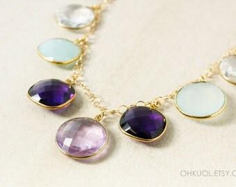 Gold Multi-Gemstone Bib Necklace - Pink Amethyst Quartz, Chalcedony, Opalite - 14Kt Gold Filled