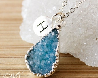 50 OFF SALE Silver Blue Druzy Necklace - Initial Necklace - Choose Your Druzy, Multi Colour