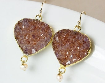50 OFF SALE Druzy and Freshwater Pearl Dangle Earrings – Choose Your Druzy – 14K Gold Filled Hooks