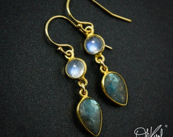 Gold Rainbow Moonstone & Blue Labradorite Earrings - 14Kt Gold Filled