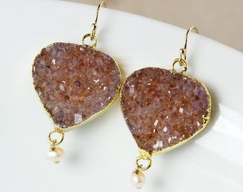 50% OFF Druzy and Freshwater Pearl Dangle Earrings – Choose Your Druzy – 14K Gold Filled Hooks