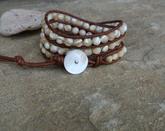 Carli Mother of Pearl Beaded Natural  Leather Wrap Bracelet