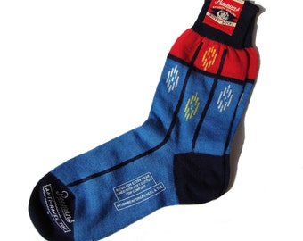 Vintage 40s Socks Boys Blue & Red Penmans Sz 9 NOS with Label