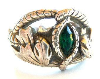 Serpents - Ring - Snakes - Sterling Sivler - Ornate - Interwined - Size 12 - Green Stone - Medieval - Mystical - Fantasy - Crowns -Recycled