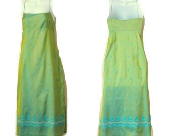 Iridescent Green - Strappy Dress - Turquoise  - Silk - India - 90s - Embroidered - Boho - Redhead - Strappy Dress - Recycled - Soft