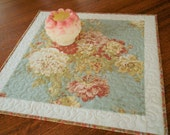 Floral Cottage Chic Quilted Table Topper, Blue Golden Yellow Brick Red Blush Pink, Flower Square Table Topper, Quilted Table Mat
