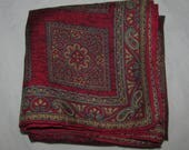 Vintage Square Silk Scarf - Red with Paisley Patterns Arranged in Squares - Small SIze