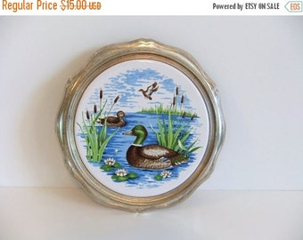 Christmas Sale Vintage Trivet - round table saver - Ducks - Birds swiming - made in Japan - Artwork
