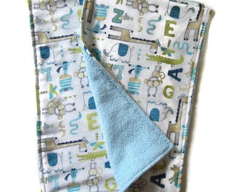 Burp Cloths, Absorbent Flannel and Terry Cloth, Set of 2, Animal Print, Boy Baby Shower Gift, Blue